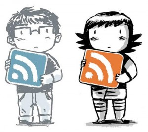 Cute characters holding RSS icons