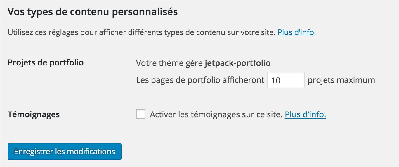 Jetpack Custom Content Types Options