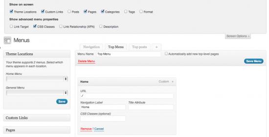 WordPress Menus' Screen options